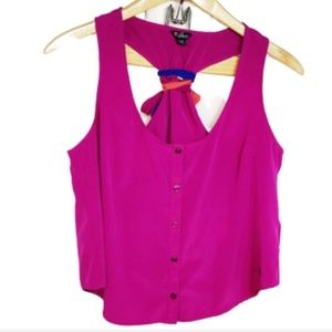 GUESS Hot Pink Scarf Tie Back Crop Button Front L